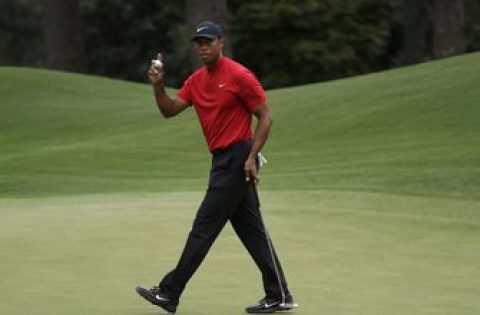 Woods makes video for cancer victim on eve of Masters