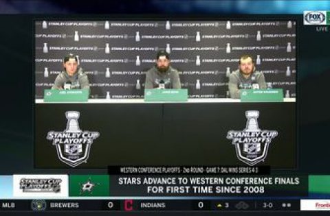 Kiviranta, Benn and Khudobin talks Stars Advancing after OT Win