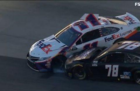 Hamlin crashes as Elliott, Logano battle for lead late