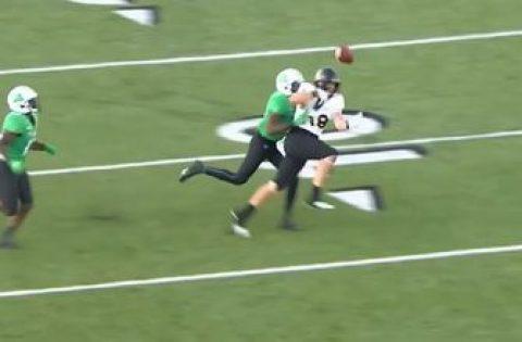 Marshall's Brandon Drayton perfectly executes 'Peanut Punch' near the goal line